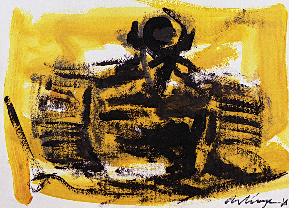 Sin título 3/4, 1985. Acrílico / Papel, 32 x 45 cm.