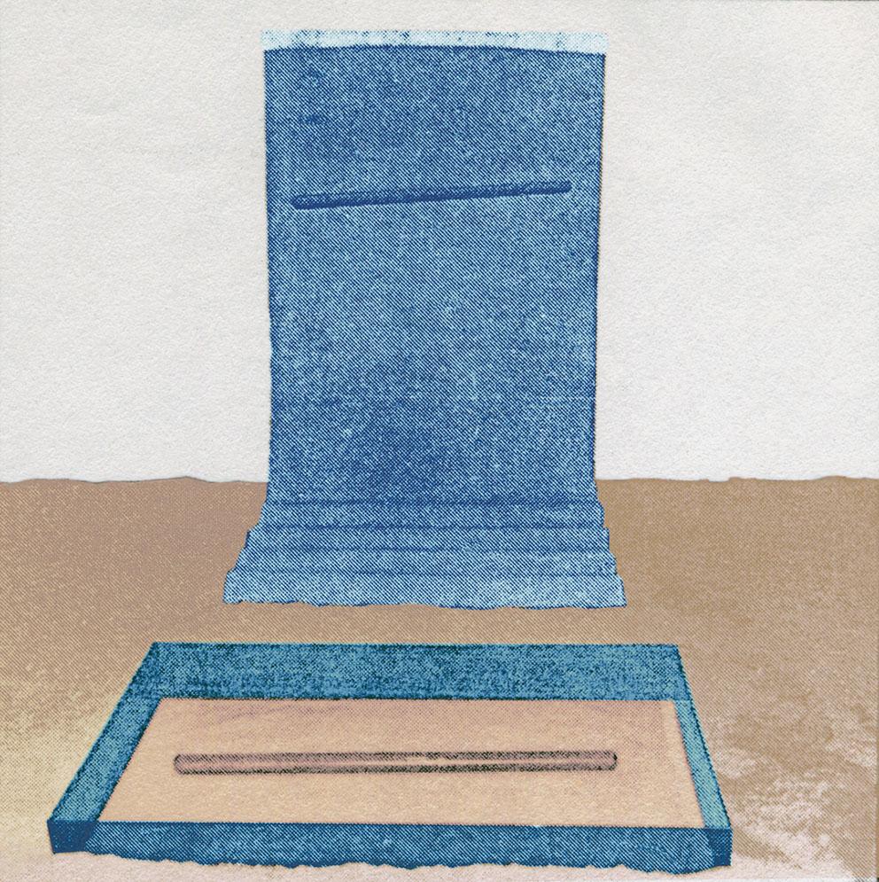 Presencias, 1990. Vidrio, tela, metacrilato y arena. 200 x 120 x 400 cm.