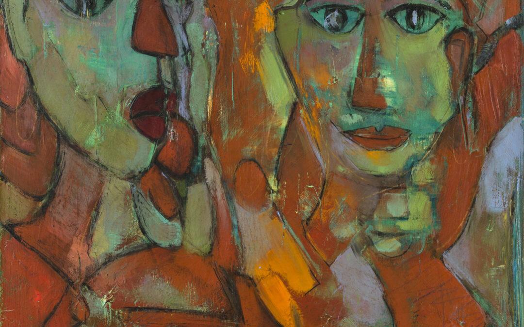 Peña Romay. Pareja de Damas, 2005. Óleo sobre tabla, 30 x 30 cm.